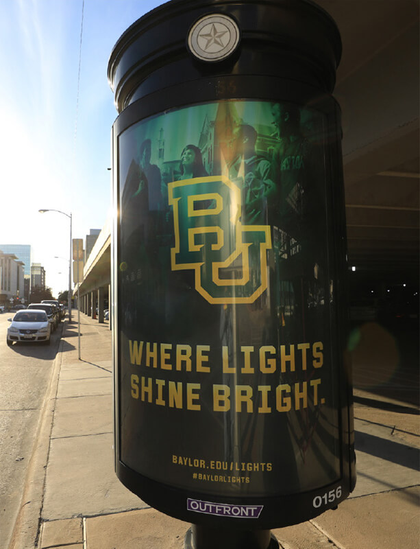 Baylor Lights Shine Bright kiosk