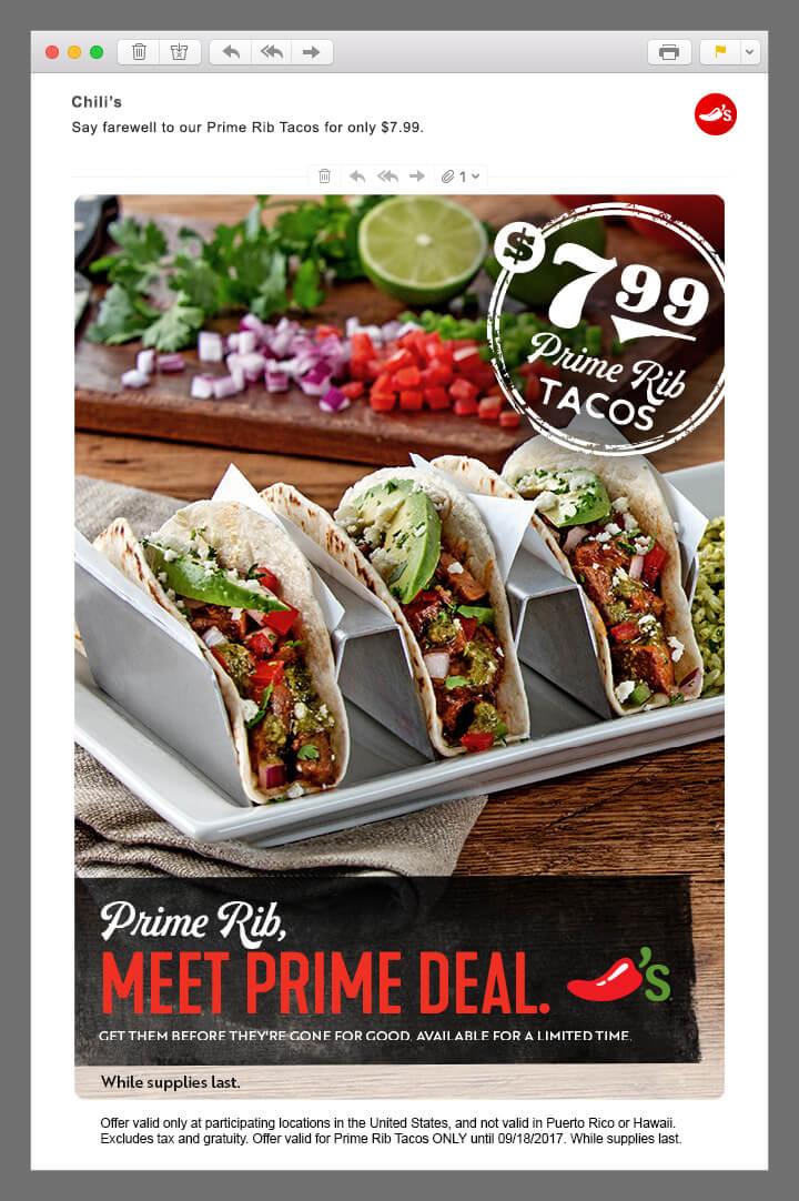 Chili's rib tacos email