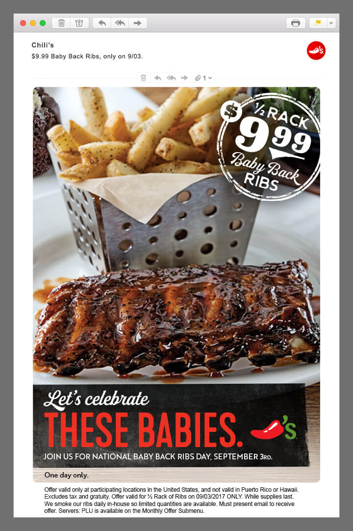 Chili's ribs email