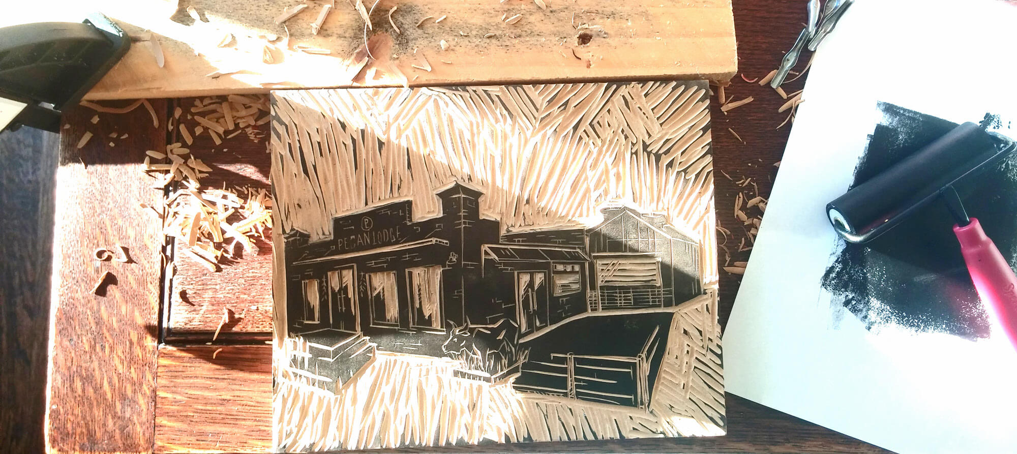 Pecan Lodge lodge wood cut
